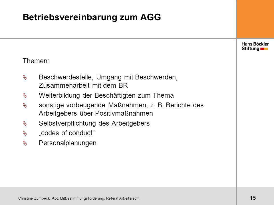 Christine Zumbeck, Abt. Mitbestimmungsförderung, Referat Arbeitsrecht 15 Betriebsvereinbarung zum AGG Themen: Ä Beschwerdestelle, Umgang mit Beschwerd
