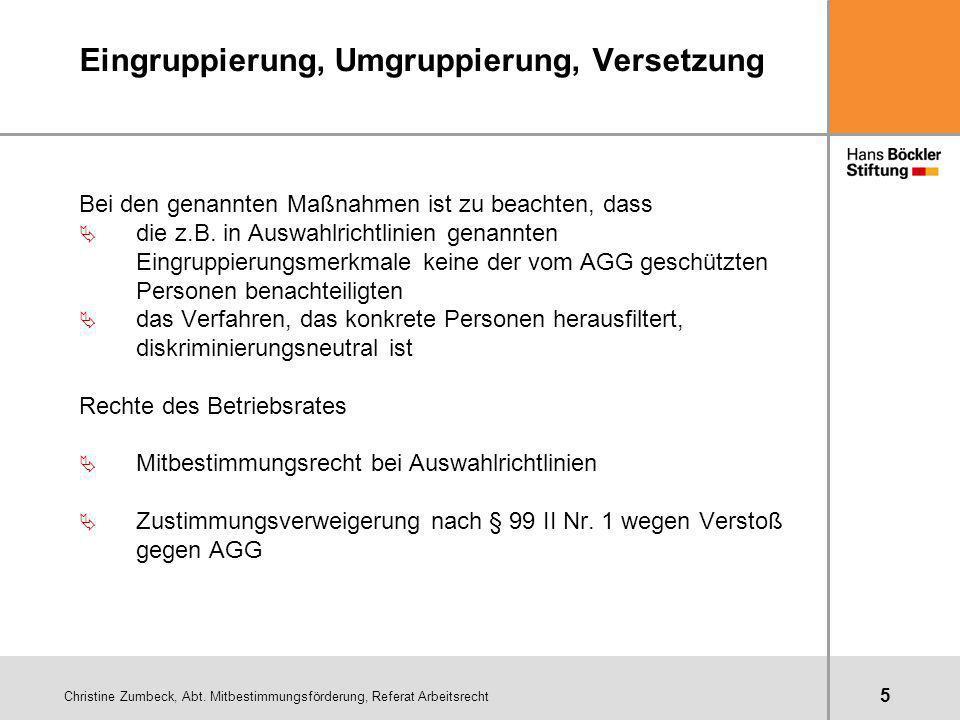 Christine Zumbeck, Abt. Mitbestimmungsförderung, Referat Arbeitsrecht 5 Eingruppierung, Umgruppierung, Versetzung Bei den genannten Maßnahmen ist zu b