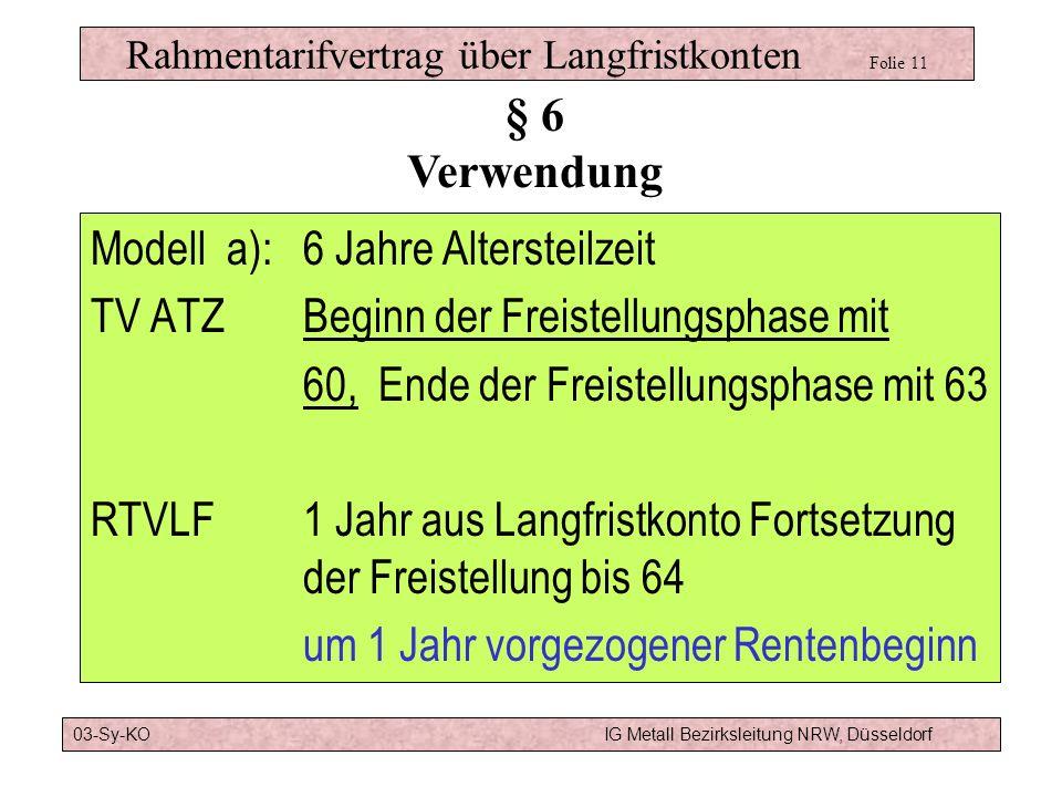 Rahmentarifvertrag über Langfristkonten Folie 11a Verwendung für Freistellungsphase Lage wird vom Beschäftigten bestimmt Kombination von Altersteilzei