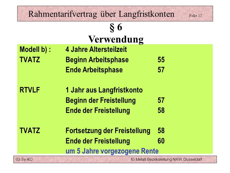 Rahmentarifvertrag über Langfristkonten Folie 12a § 6 Verwendung b) Arbeits -phase Lang - frist- Konto Frei - stellungs- phase Vollzeit 55 57 58 60 65