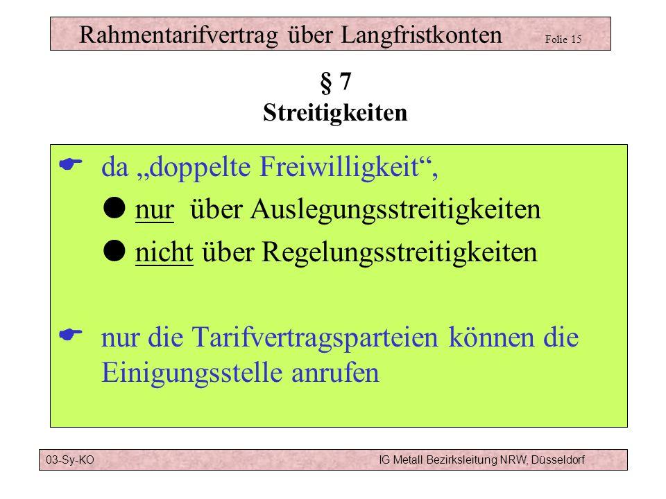 Rahmentarifvertrag über Langfristkonten Folie 14 Übertrag auf neuen Arbeitgeber möglich Krankheit nach Glück/Pech-Prinzip Bei nicht zweckentsprechende
