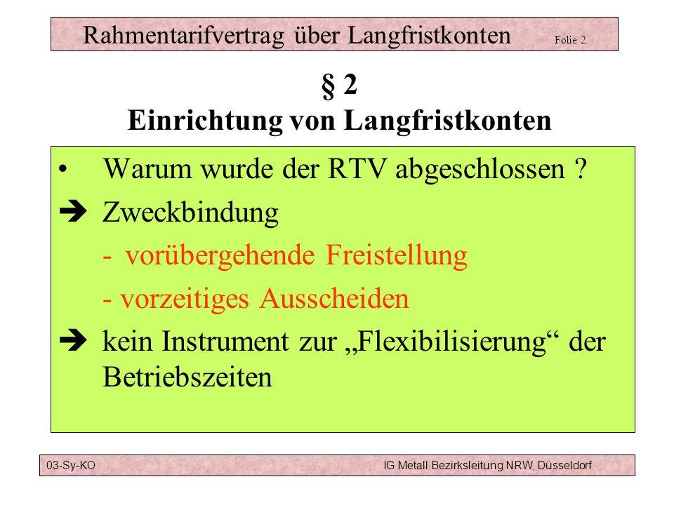 Rahmentarifvertrag über Langfristkonten Folie 11 Modell a):6 Jahre Altersteilzeit TV ATZBeginn der Freistellungsphase mit 60, Ende der Freistellungsphase mit 63 RTVLF1 Jahr aus Langfristkonto Fortsetzung der Freistellung bis 64 um 1 Jahr vorgezogener Rentenbeginn § 6 Verwendung 03-Sy-KOIG Metall Bezirksleitung NRW, Düsseldorf