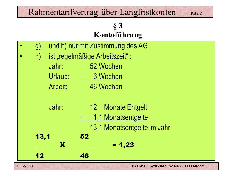 Rahmentarifvertrag über Langfristkonten Folie 6 g)und h) nur mit Zustimmung des AG h) ist regelmäßige Arbeitszeit : Jahr:52 Wochen Urlaub: - 6 Wochen Arbeit:46 Wochen Jahr:12 Monate Entgelt + 1,1 Monatsentgelte 13,1 Monatsentgelte im Jahr 13,152 _____ X____= 1,23 1246 § 3 Kontoführung 03-Sy-KOIG Metall Bezirksleitung NRW, Düsseldorf