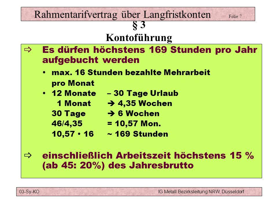Rahmentarifvertrag über Langfristkonten Folie 15 da doppelte Freiwilligkeit, nurüber Auslegungsstreitigkeiten nicht über Regelungsstreitigkeiten nur die Tarifvertragsparteien können die Einigungsstelle anrufen § 7 Streitigkeiten 03-Sy-KOIG Metall Bezirksleitung NRW, Düsseldorf