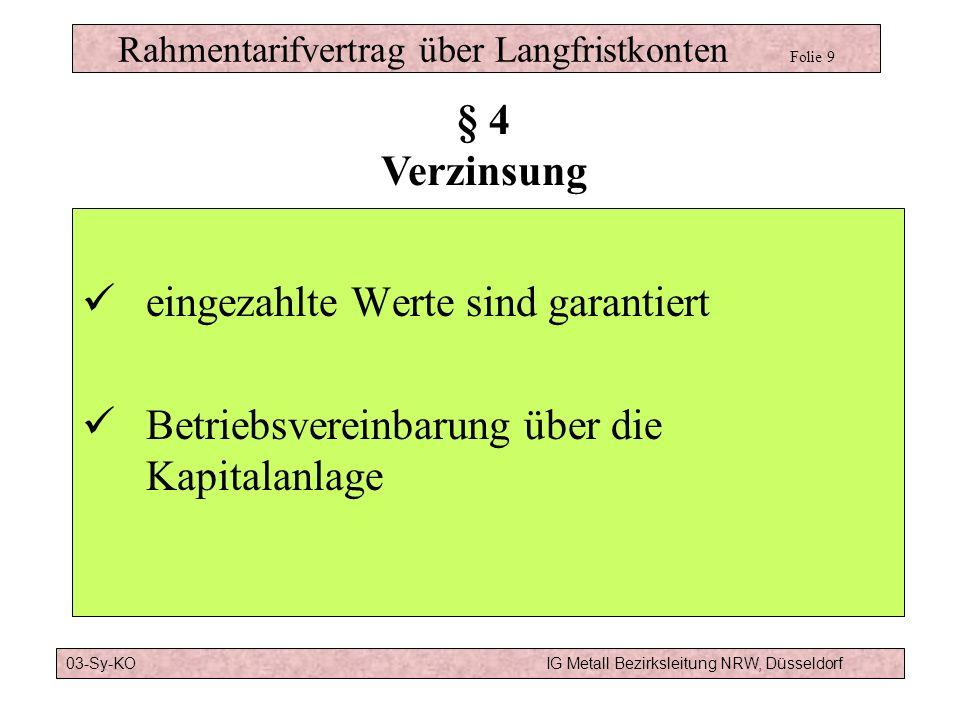 Rahmentarifvertrag über Langfristkonten Folie 9 eingezahlte Werte sind garantiert Betriebsvereinbarung über die Kapitalanlage § 4 Verzinsung 03-Sy-KOIG Metall Bezirksleitung NRW, Düsseldorf