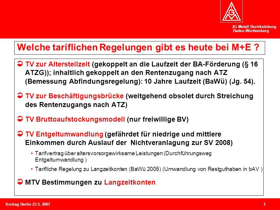 IG Metall Bezirksleitung Baden-Württemberg 2 Vortrag Berlin 23.5. 2007 Welche tariflichen Regelungen gibt es heute bei M+E ? TV zur Altersteilzeit (ge