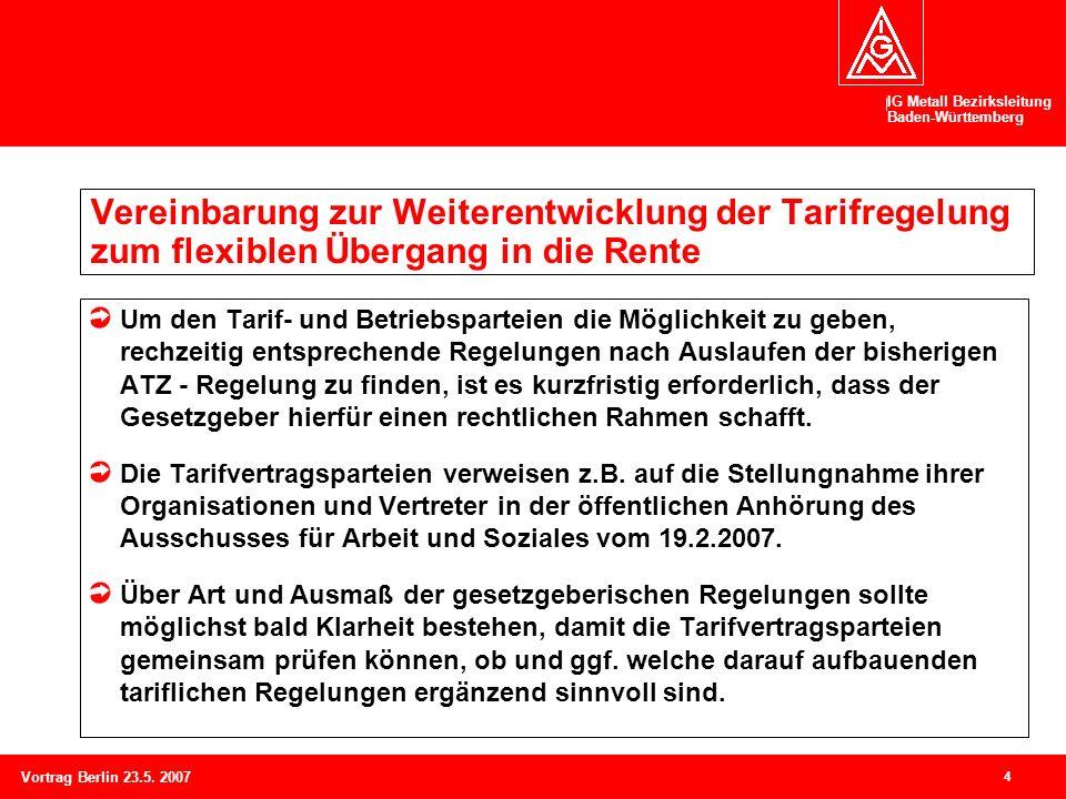 IG Metall Bezirksleitung Baden-Württemberg 4 Vortrag Berlin 23.5. 2007 Vereinbarung zur Weiterentwicklung der Tarifregelung zum flexiblen Übergang in