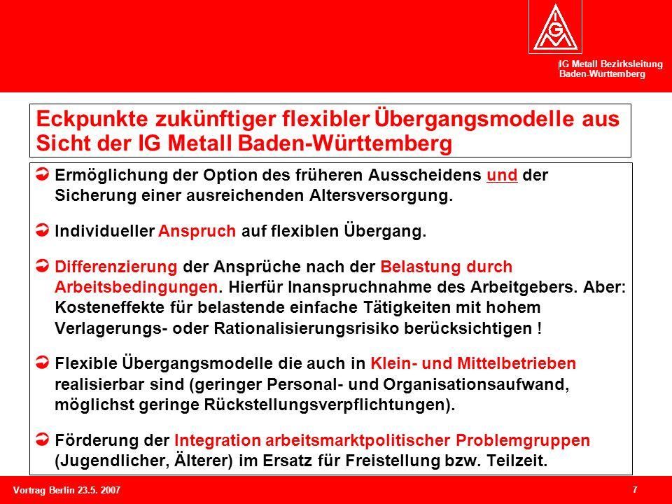 IG Metall Bezirksleitung Baden-Württemberg 7 Vortrag Berlin 23.5. 2007 Eckpunkte zukünftiger flexibler Übergangsmodelle aus Sicht der IG Metall Baden-