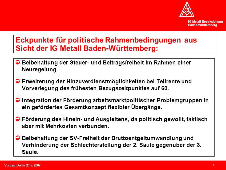 IG Metall Bezirksleitung Baden-Württemberg 8 Vortrag Berlin 23.5. 2007 Eckpunkte für politische Rahmenbedingungen aus Sicht der IG Metall Baden-Württe