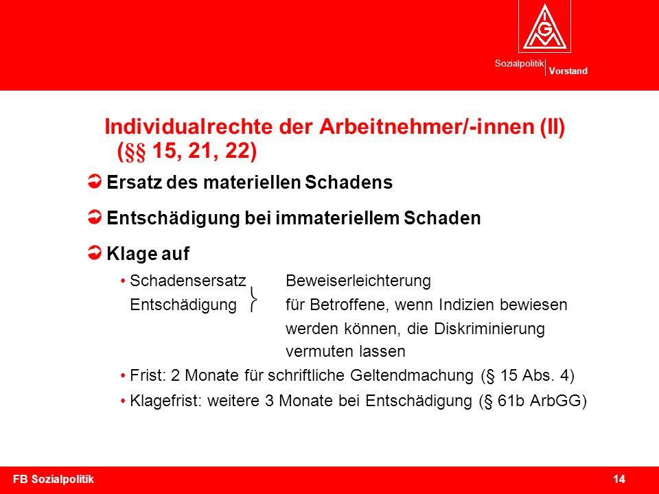 Sozialpolitik Vorstand 14FB Sozialpolitik Individualrechte der Arbeitnehmer/-innen (II) (§§ 15, 21, 22) Ersatz des materiellen Schadens Entschädigung