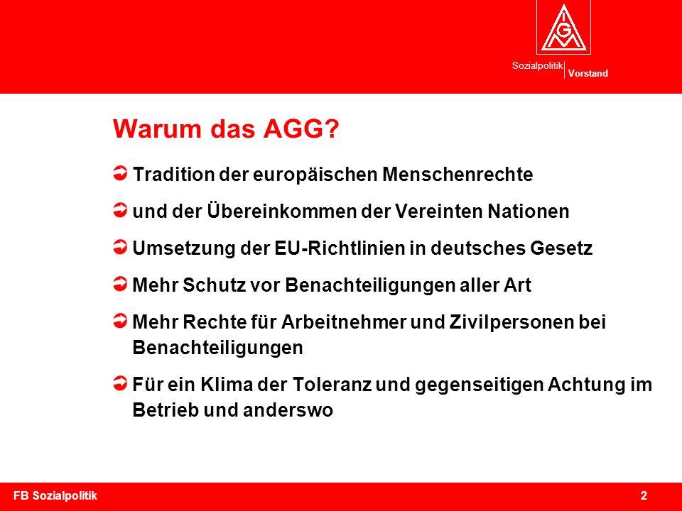 Sozialpolitik Vorstand 23FB Sozialpolitik Bewertung des AGG (I) Überfällig überwiegend positiv keine Definition der vorbeugenden Maßnahmen keine Beweislastumkehr, keine Verbandsklage, aber immerhin Unterlassungsklage für Gewerkschaften möglich, wenn auch nur bei grobem Verstoß (§ 17)