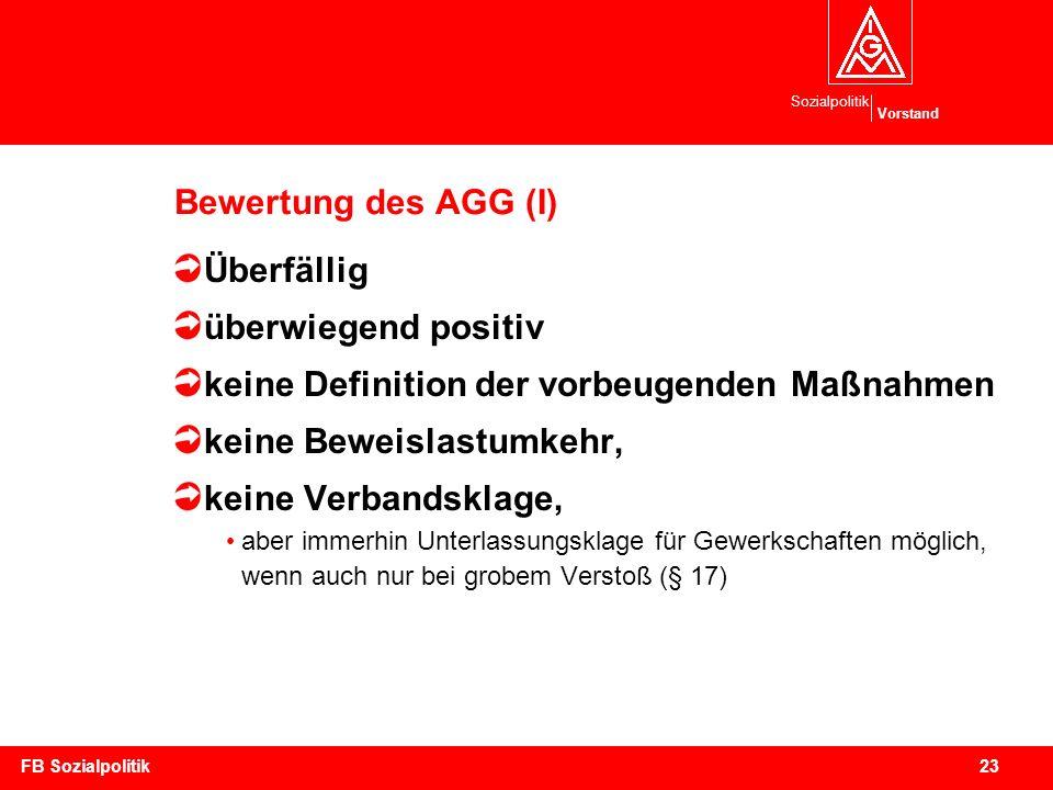 Sozialpolitik Vorstand 23FB Sozialpolitik Bewertung des AGG (I) Überfällig überwiegend positiv keine Definition der vorbeugenden Maßnahmen keine Bewei