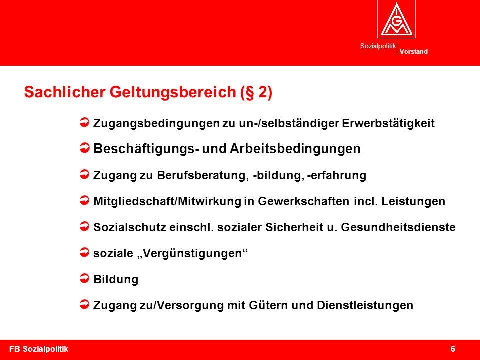Sozialpolitik Vorstand 7FB Sozialpolitik Was soll das AGG verhindern.