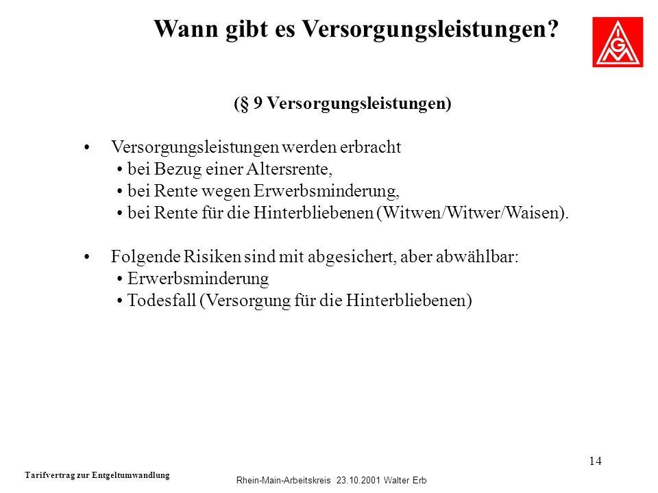 Rhein-Main-Arbeitskreis 23.10.2001 Walter Erb 14 Wann gibt es Versorgungsleistungen? Tarifvertrag zur Entgeltumwandlung (§ 9 Versorgungsleistungen) Ve