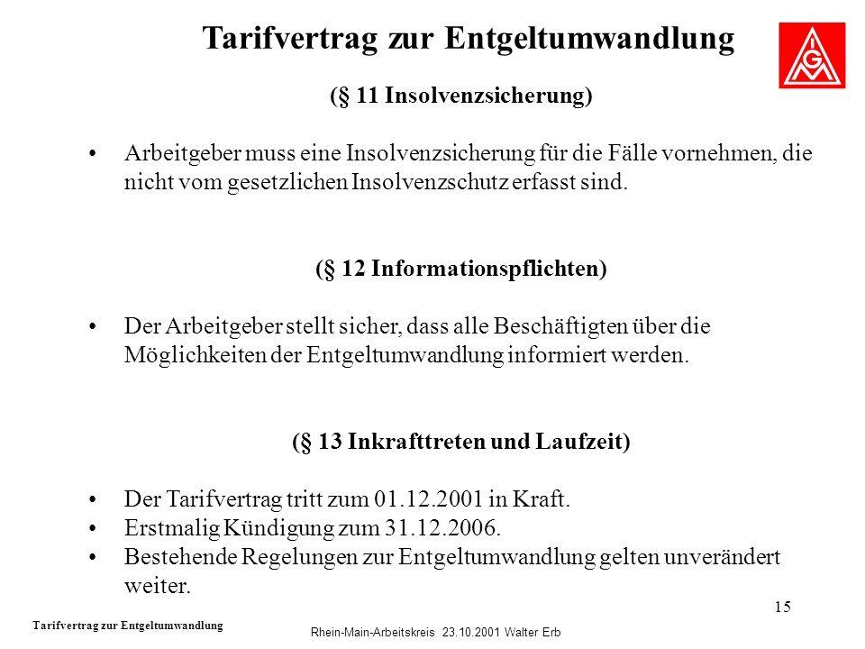 Rhein-Main-Arbeitskreis 23.10.2001 Walter Erb 15 Tarifvertrag zur Entgeltumwandlung (§ 11 Insolvenzsicherung) Arbeitgeber muss eine Insolvenzsicherung