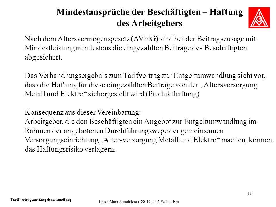Rhein-Main-Arbeitskreis 23.10.2001 Walter Erb 16 Mindestansprüche der Beschäftigten – Haftung des Arbeitgebers Tarifvertrag zur Entgeltumwandlung Nach