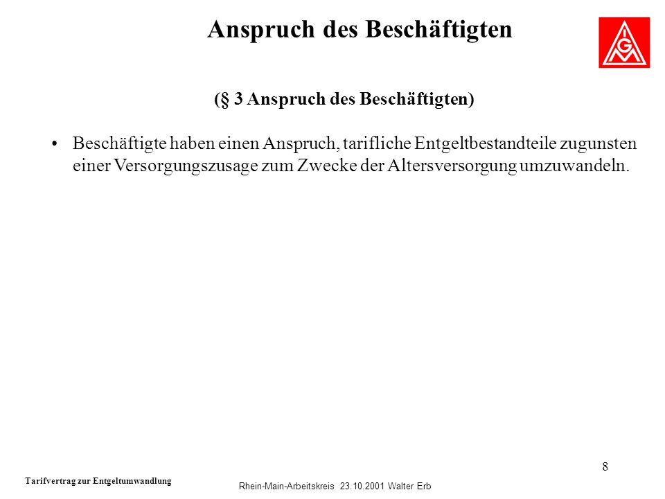 Rhein-Main-Arbeitskreis 23.10.2001 Walter Erb 8 Anspruch des Beschäftigten Tarifvertrag zur Entgeltumwandlung (§ 3 Anspruch des Beschäftigten) Beschäf
