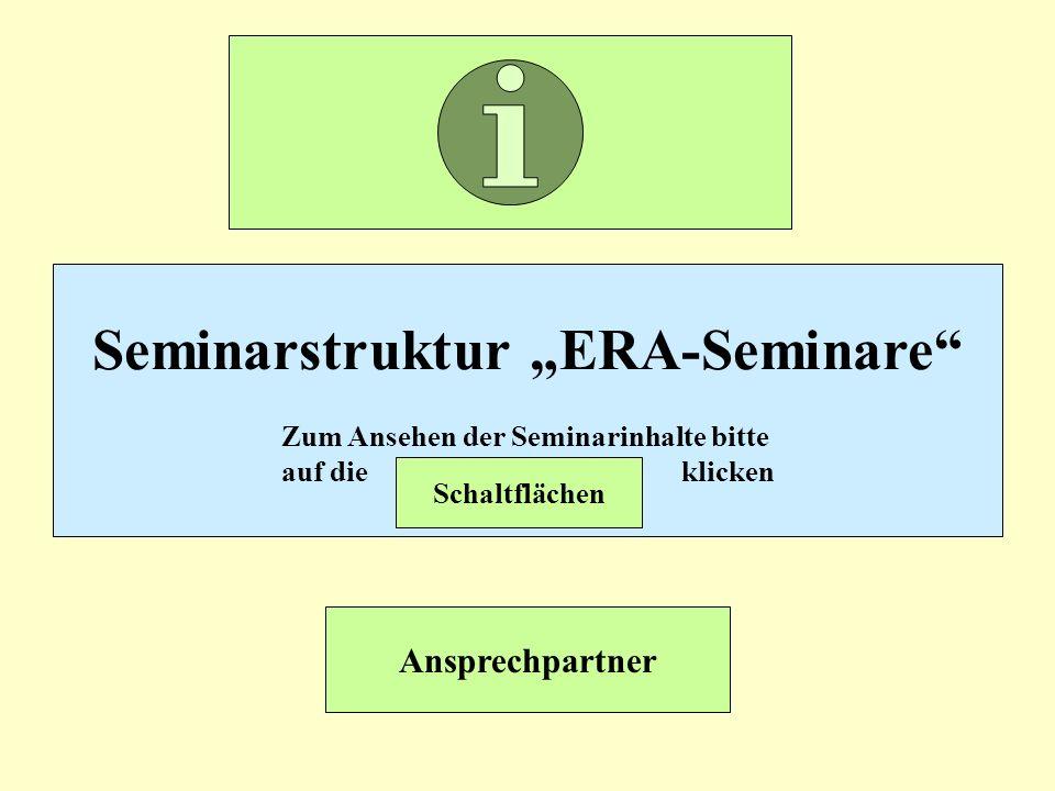 Seminarstruktur ERA-Seminare Zum Ansehen der Seminarinhalte bitte auf die klicken Schaltflächen Ansprechpartner