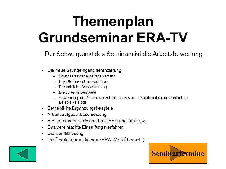 Grundseminar ERA-TV Arbeitsbewertung, Überblick 1 Woche für PaKo Mitglieder und BR-Mitglieder Aufbauseminar I Arbeitsbewertung/Belastungen Verdienstau