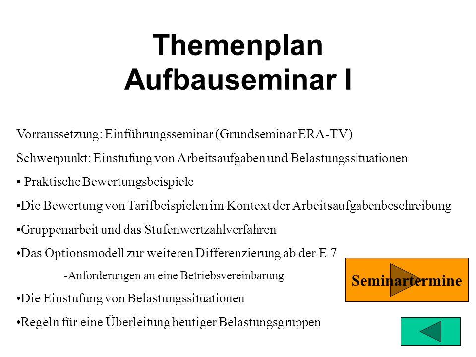 Themenplan Grundseminar ERA-TV Der Schwerpunkt des Seminars ist die Arbeitsbewertung. Die neue Grundentgeltdifferenzierung –Grundsätze der Arbeitsbewe