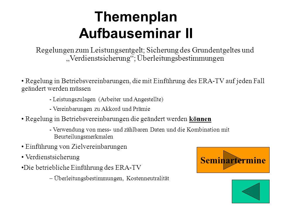 Themenplan Aufbauseminar I Vorraussetzung: Einführungsseminar (Grundseminar ERA-TV) Schwerpunkt: Einstufung von Arbeitsaufgaben und Belastungssituatio