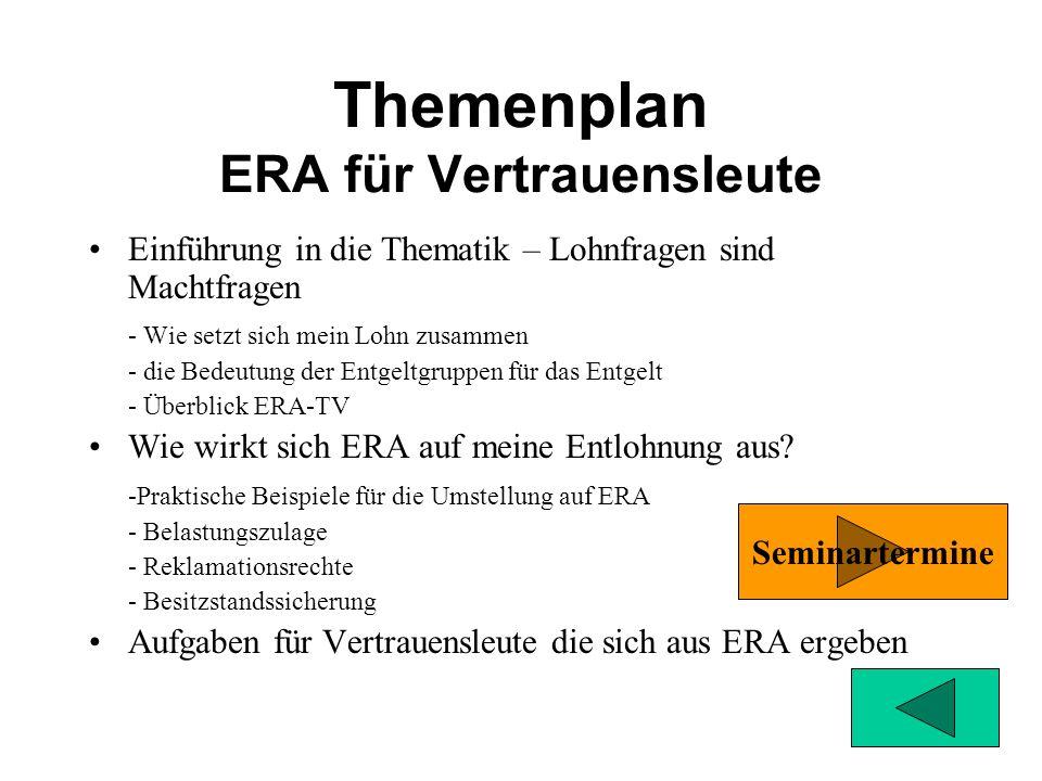 Themenplan Kompaktseminar Der ERA-TV berührt viele Themengebiete mit denen sich Betriebsräte auseinandersetzen müssen. Ein Überblick über die Regelung