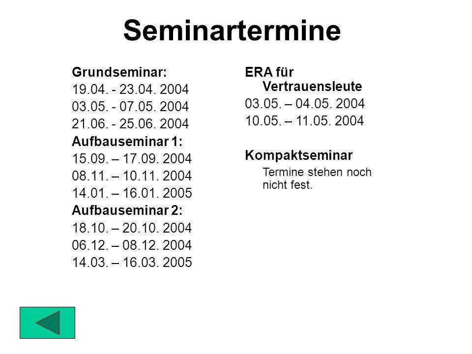 Grundseminar: 19.04.- 23.04. 2004 03.05. - 07.05.