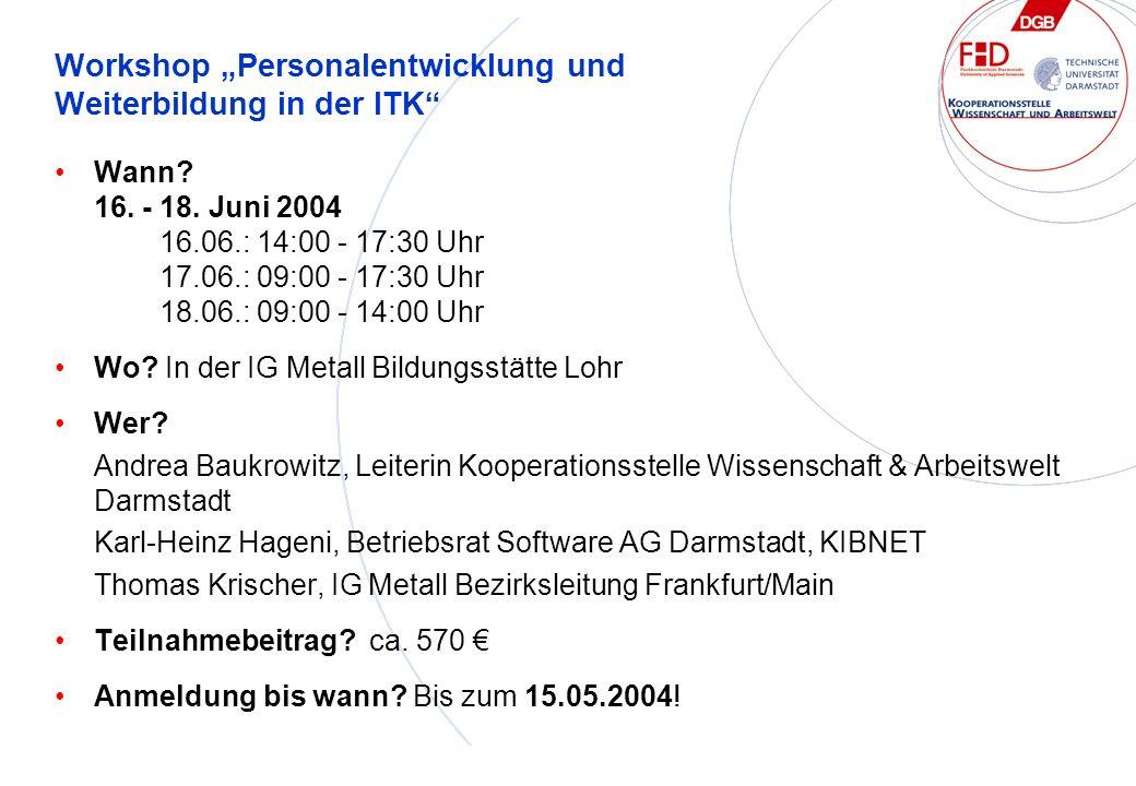 Workshop Personalentwicklung und Weiterbildung in der ITK Wann.