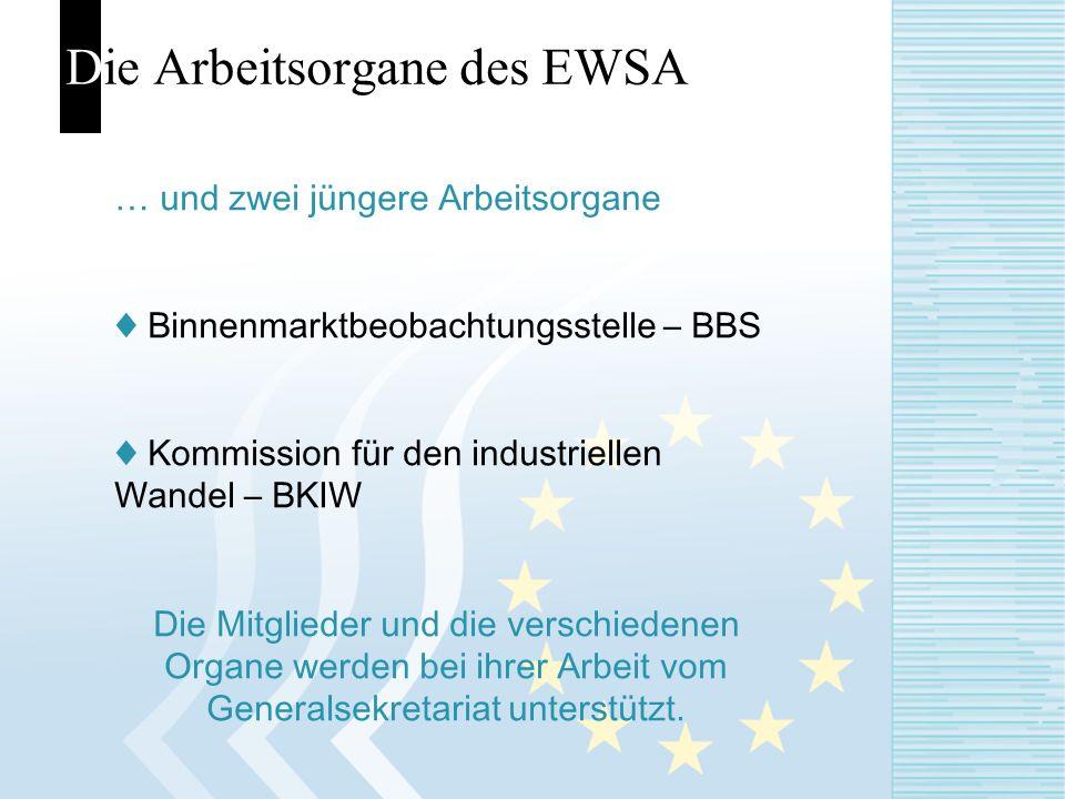 Die Arbeitsorgane des EWSA … und zwei jüngere Arbeitsorgane Binnenmarktbeobachtungsstelle – BBS Kommission für den industriellen Wandel – BKIW Die Mit