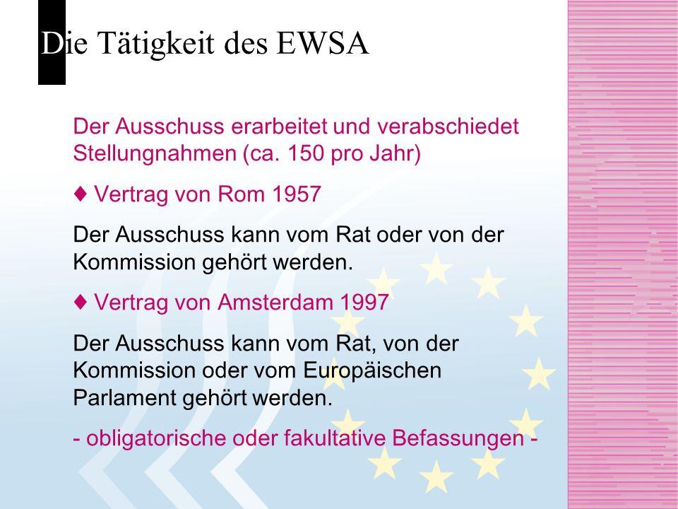 Die Tätigkeit des EWSA Der Ausschuss erarbeitet und verabschiedet Stellungnahmen (ca. 150 pro Jahr) Vertrag von Rom 1957 Der Ausschuss kann vom Rat od