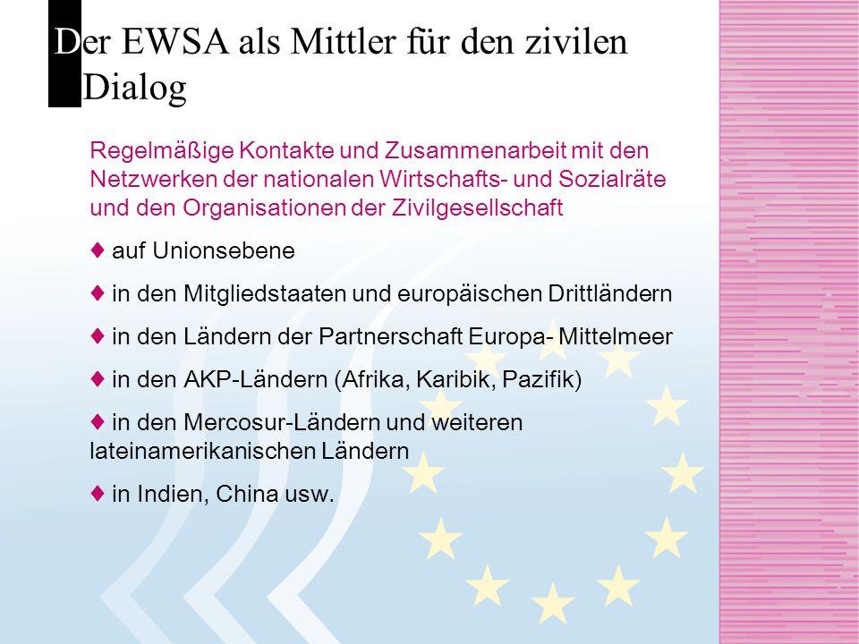 Der EWSA als Mittler für den zivilen Dialog Regelmäßige Kontakte und Zusammenarbeit mit den Netzwerken der nationalen Wirtschafts- und Sozialräte und