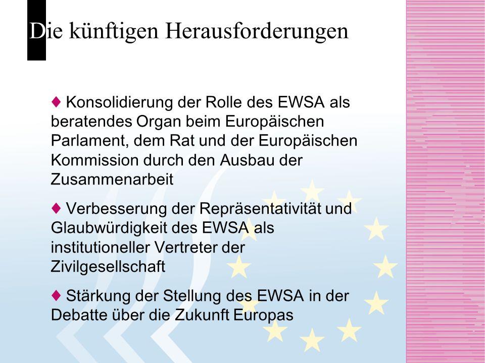 Die künftigen Herausforderungen Konsolidierung der Rolle des EWSA als beratendes Organ beim Europäischen Parlament, dem Rat und der Europäischen Kommi