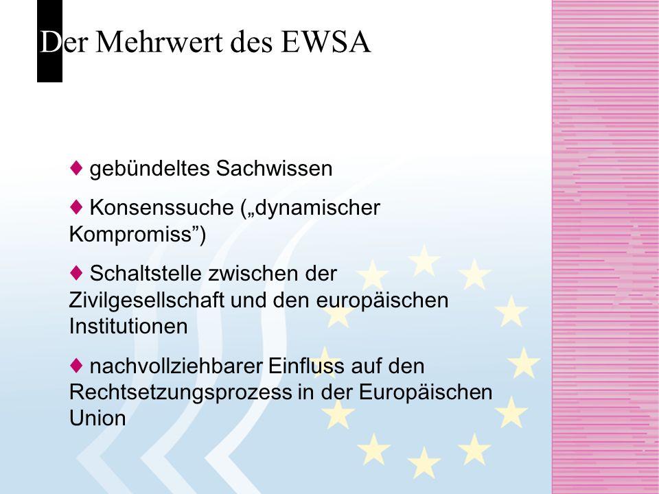 Der Mehrwert des EWSA gebündeltes Sachwissen Konsenssuche (dynamischer Kompromiss) Schaltstelle zwischen der Zivilgesellschaft und den europäischen In