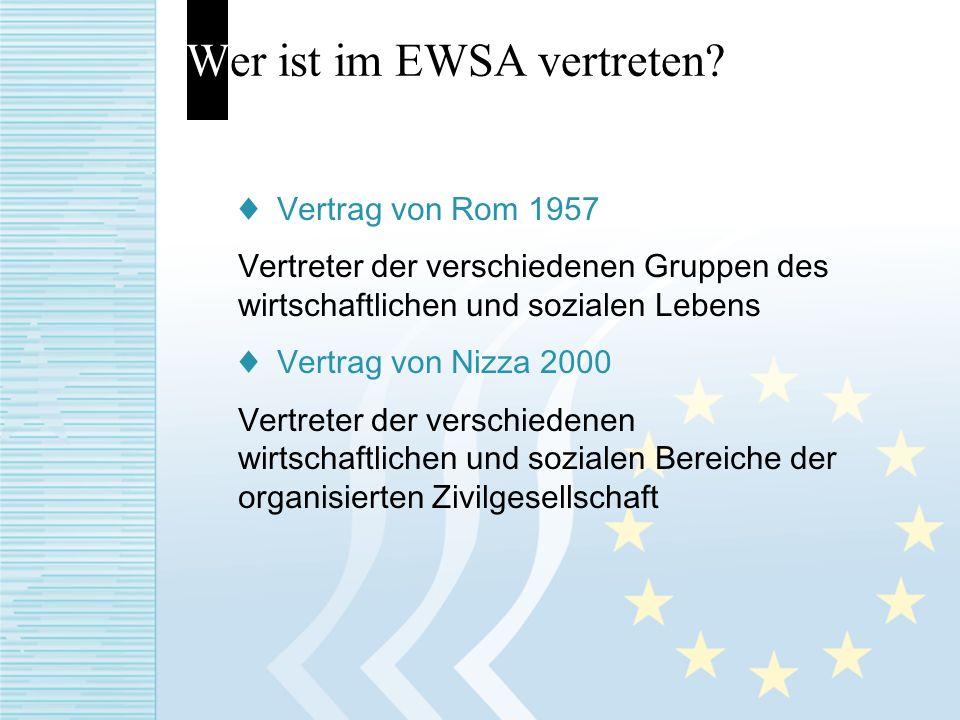 Wer ist im EWSA vertreten? Vertrag von Rom 1957 Vertreter der verschiedenen Gruppen des wirtschaftlichen und sozialen Lebens Vertrag von Nizza 2000 Ve