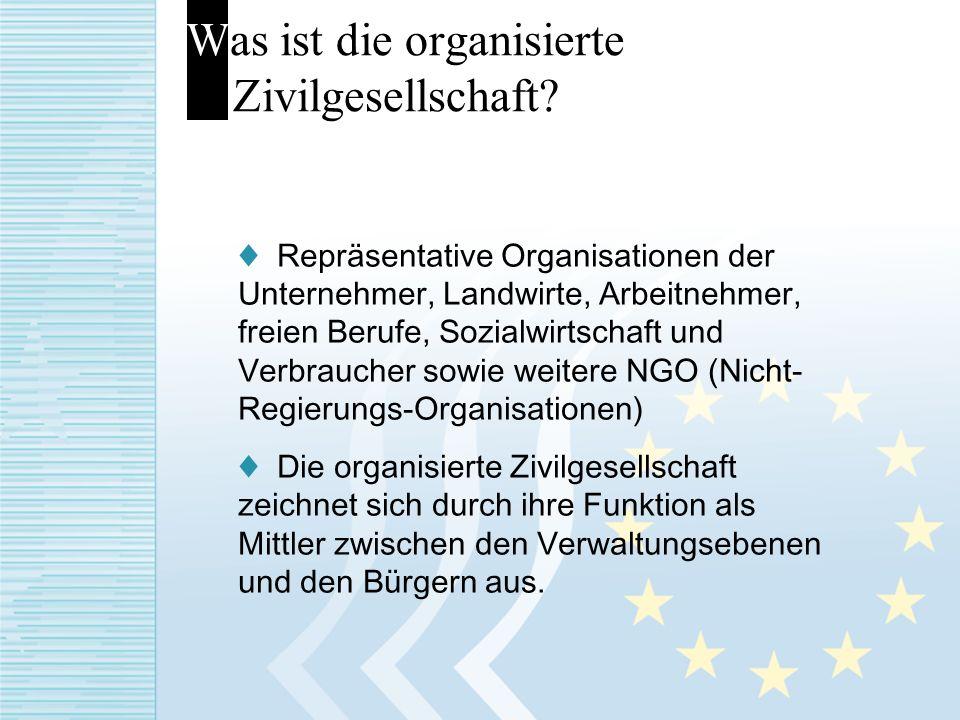 Was ist die organisierte Zivilgesellschaft? Repräsentative Organisationen der Unternehmer, Landwirte, Arbeitnehmer, freien Berufe, Sozialwirtschaft un