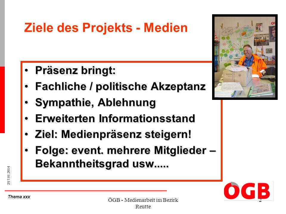 Thema xxx 2/17.01.2014 ÖGB - Medienarbeit im Bezirk Reutte 2 Ziele des Projekts - Medien Präsenz bringt:Präsenz bringt: Fachliche / politische Akzepta