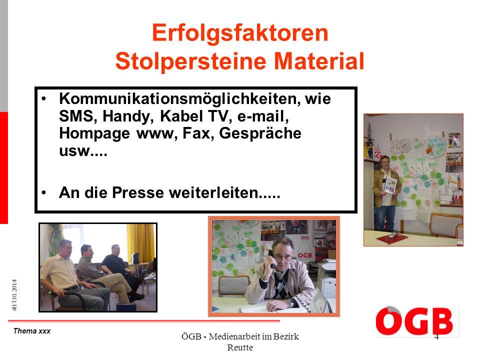 Thema xxx 4/17.01.2014 ÖGB - Medienarbeit im Bezirk Reutte 4 Erfolgsfaktoren Stolpersteine Material Kommunikationsmöglichkeiten, wie SMS, Handy, Kabel