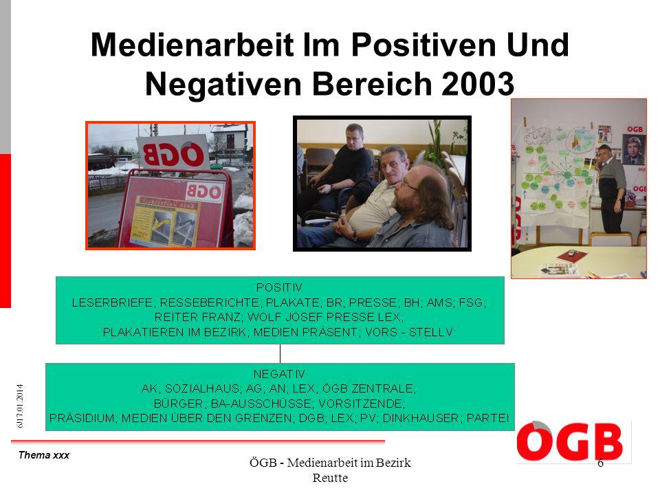 Thema xxx 6/17.01.2014 ÖGB - Medienarbeit im Bezirk Reutte 6 Medienarbeit Im Positiven Und Negativen Bereich 2003