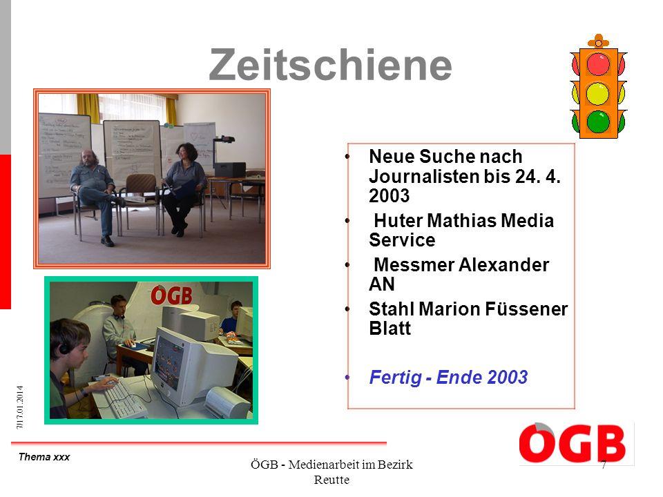 Thema xxx 7/17.01.2014 ÖGB - Medienarbeit im Bezirk Reutte 7 Zeitschiene Neue Suche nach Journalisten bis 24. 4. 2003 Huter Mathias Media Service Mess