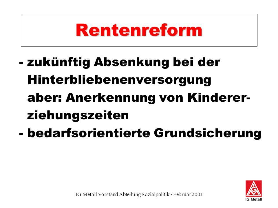 IG Metall Vorstand Abteilung Sozialpolitik - Februar 2001 Rentenreform Fazit: Die IG Metall hat gezeigt, dass sie zur politischen Mobilisierung im sozialpolitischen Bereich bereit und in der Lage ist.