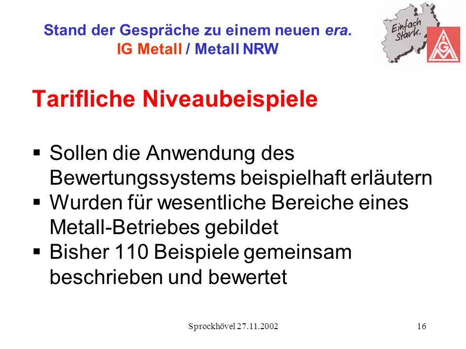 Sprockhövel 27.11.200216 Stand der Gespräche zu einem neuen era. IG Metall / Metall NRW Tarifliche Niveaubeispiele Sollen die Anwendung des Bewertungs