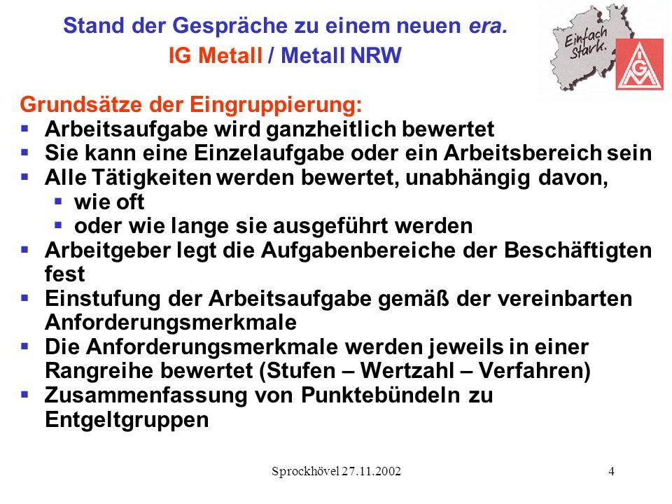 Sprockhövel 27.11.20024 Stand der Gespräche zu einem neuen era. IG Metall / Metall NRW Grundsätze der Eingruppierung: Arbeitsaufgabe wird ganzheitlich