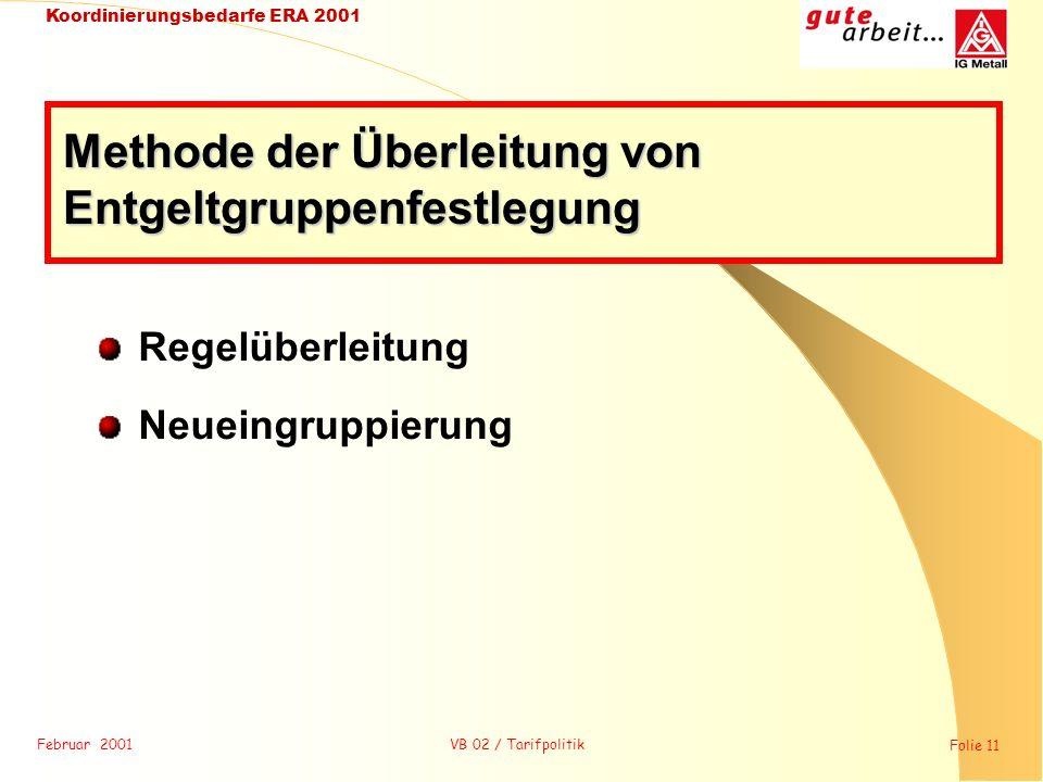 Februar 2001 Folie 11 Koordinierungsbedarfe ERA 2001 VB 02 / Tarifpolitik Regelüberleitung Neueingruppierung Methode der Überleitung von Entgeltgruppe