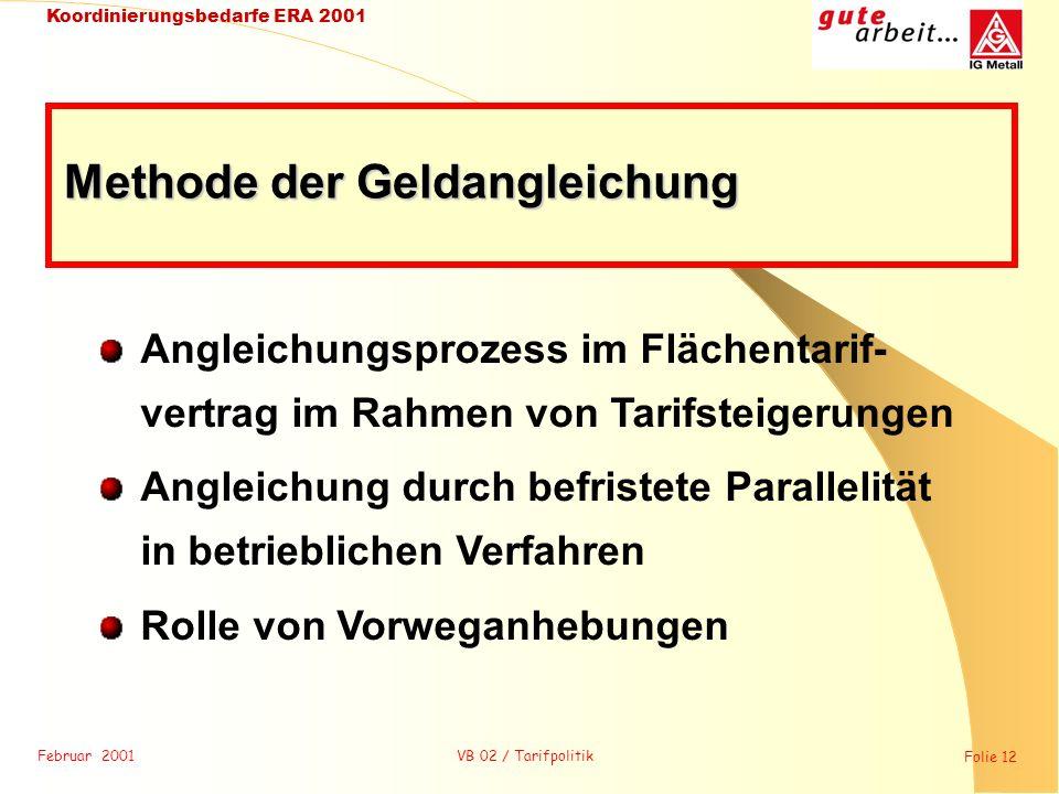 Februar 2001 Folie 12 Koordinierungsbedarfe ERA 2001 VB 02 / Tarifpolitik Angleichungsprozess im Flächentarif- vertrag im Rahmen von Tarifsteigerungen