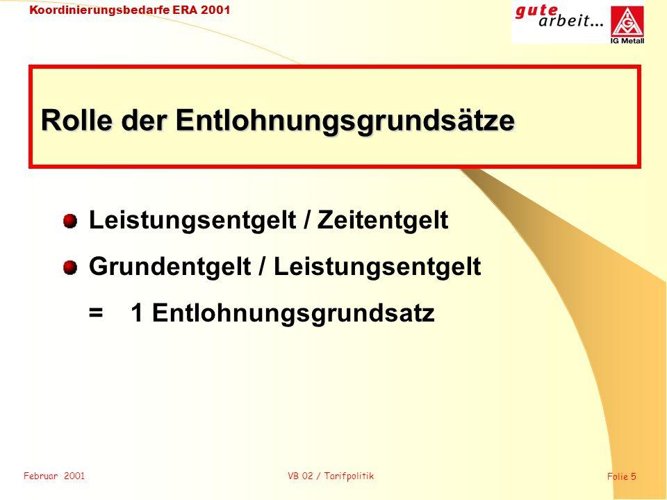 Februar 2001 Folie 5 Koordinierungsbedarfe ERA 2001 VB 02 / Tarifpolitik Leistungsentgelt / Zeitentgelt Grundentgelt / Leistungsentgelt = 1 Entlohnung