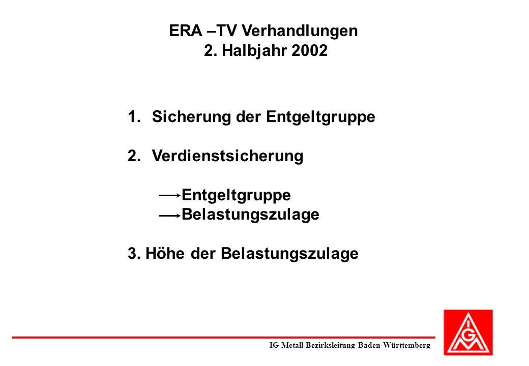 ERA –TV Verhandlungen 2. Halbjahr 2002 1.Sicherung der Entgeltgruppe 2.Verdienstsicherung Entgeltgruppe Belastungszulage 3. Höhe der Belastungszulage