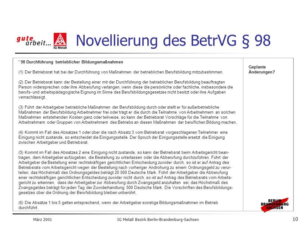 März 2001IG Metall Bezirk Berlin-Brandenburg-Sachsen 10 98 Durchführung betrieblicher Bildungsmaßnahmen (1) Der Betriebsrat hat bei der Durchführung von Maßnahmen der betrieblichen Berufsbildung mitzubestimmen.