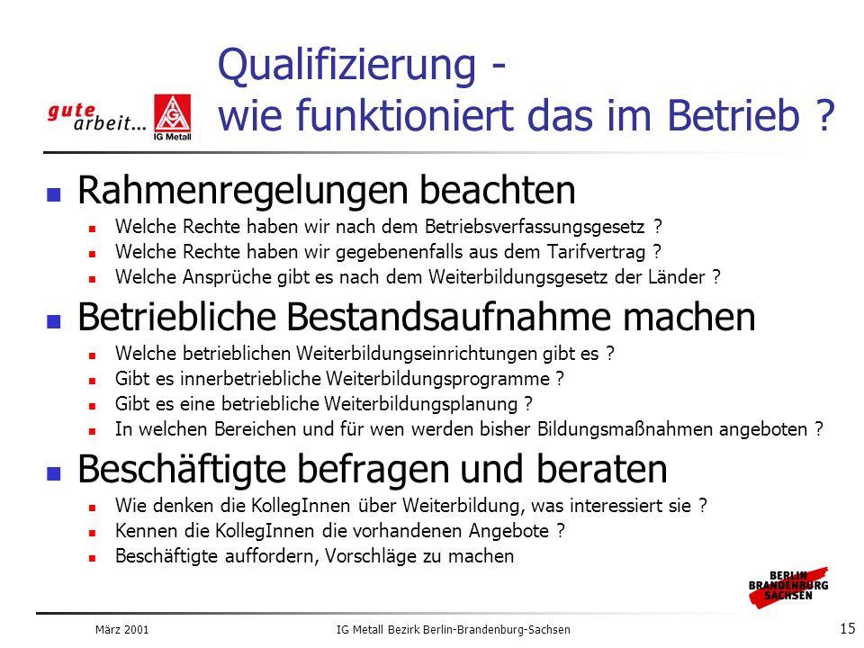 März 2001IG Metall Bezirk Berlin-Brandenburg-Sachsen 15 Qualifizierung - wie funktioniert das im Betrieb .