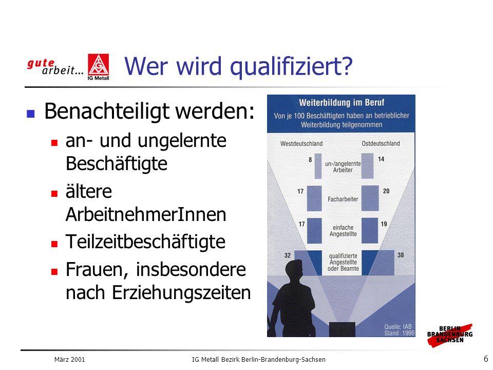 März 2001IG Metall Bezirk Berlin-Brandenburg-Sachsen 6 Wer wird qualifiziert.