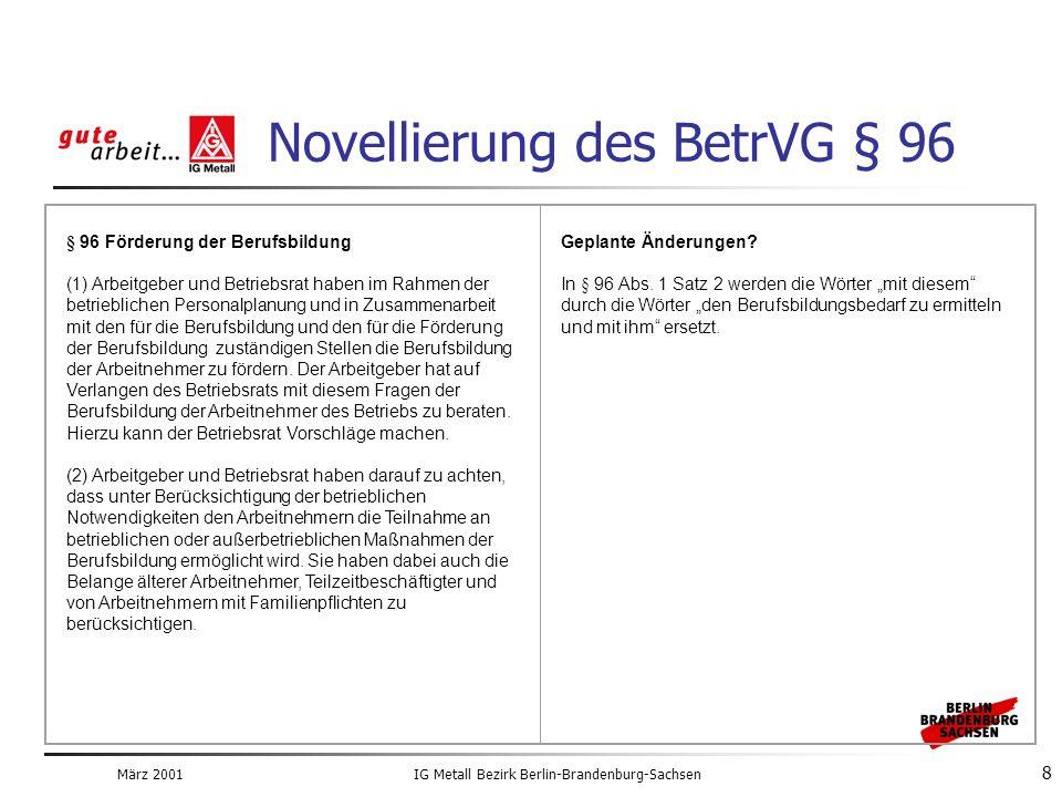 März 2001IG Metall Bezirk Berlin-Brandenburg-Sachsen 8 Novellierung des BetrVG § 96 § 96 Förderung der Berufsbildung (1) Arbeitgeber und Betriebsrat haben im Rahmen der betrieblichen Personalplanung und in Zusammenarbeit mit den für die Berufsbildung und den für die Förderung der Berufsbildung zuständigen Stellen die Berufsbildung der Arbeitnehmer zu fördern.